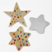 Mit Strasssteinen geschmückte Sterne aus Gold- und Silberfolienkarton