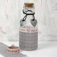 Glasflasche mit Decoupage und Schmuck aus der Designserie, Paris