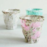 Teelichthalter, verziert mit Decoupage-Papier