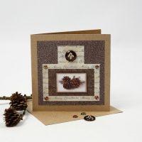 Weihnachtskarte mit Glitzerfolie, Design-Papier und Cabochon