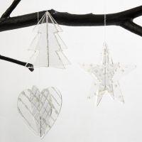 Hängender Acrylschmuck, dekoriert mit silbernem 3D-Liner