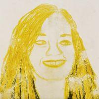 Porträt als Mono-Print, angefertigt mit Caran d'Ache Neocolor II