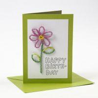 Eine Happy Moments Grußkarte mit Rocaille-Perlen-Blume