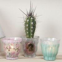Teelichtglas, dekoriert mit Decoupage-Papier im Vivi Gade Design