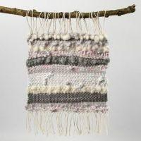 Deko-Webstück aus Baumwolle, Wolle und Stoffstreifen