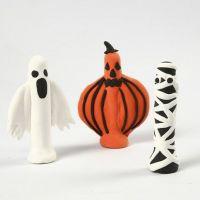 Halloween-Figuren aus Wäscheklammern, bedeckt mit Silk Clay