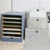 Eine Aufbewahrung und ein Schachtel-Set, dekoriert im Vintage Look