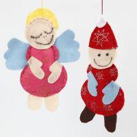 Engel und Weihnachtsmann aus glitzerndem Filz