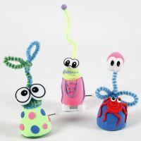 Aufzieh-Figuren aus Silk Clay mit Pfeifenreinigern