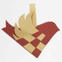 Vogel aus Papierflechtwerk mit Henkel