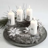 Adventkranz in Silber