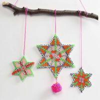 Sterne aus Nabbi Fuse Beads mit Pompons