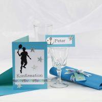 Einladung und Tischdeko für eine Konfirmationsfeier in Türkis