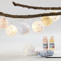 Lichterkette mit bemalten Reispapier-Lampions