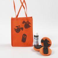 Orange-farbener Stoffbeutel mit Halloween-Druck