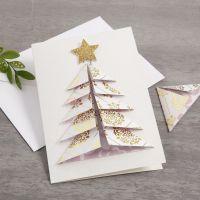 Weihnachtskarte mit 3D-Weihnachtsbaum aus Design-Papier von Vivi Gade