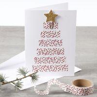 Weihnachtskarte mit Weihnachtsbaum aus Motiv-Klebeband