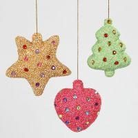Weihnachtliche Deko aus Styropor-Formen, Foam Clay und Strasssteinen