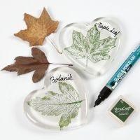 Glasherz mit Blattdruck und Schrift