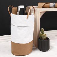 Wäschekorb aus Leder-Imitat-Papier