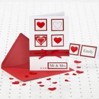 Hochzeitseinladung in Rot/Weiß mit Strass