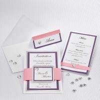 Hochzeitseinladung aus Struktur-Papier mit Silberrand