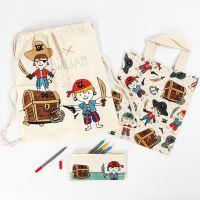 Stift-Mäppchen, Henkel- und Kordelzug-Beutel - bunt bemalt mit Textilfarben