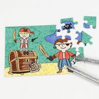 Piraten-Puzzle, bemalt mit Farbstiften