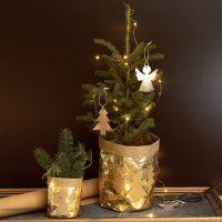 Blumentopf, ummantelt mit Kunstlederpapier im weihnachtlichen Design