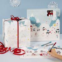Adventskalender, Adventskalender-Box und Geschenkpapier im