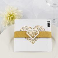 Menükarte, gestaltet mit goldenem Glitzerpapier und Shaker Stickern