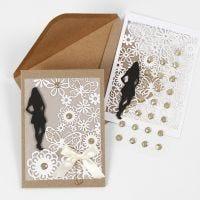 Einladung zur Konfirmation mit Schattensilhouette, Spitzenkarton und Pergamentpapier