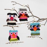 Vögel, gewebt aus Maxi Acrylgarn mit Details aus Filz