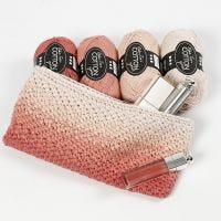 Gehäkeltes Makeup-Täschchen mit schattiertem Farbmuster