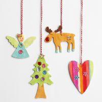 Christbaum-Anhänger aus Holz, dekoriert mit Strasssteinen