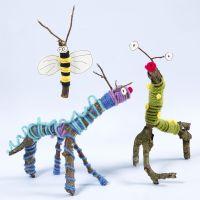 Tiere/Insekten, gefertigt aus Zweigen, Stöcken, Wolle und Sticky Base