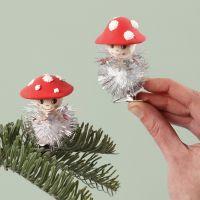 Toadstools with a glitter pom-pom body