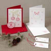 Weihnachtskarten mit Stempeldruck-Motiven