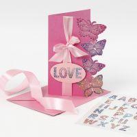 Grußkarte mit Schmetterlings-Stickern aus Diamanten