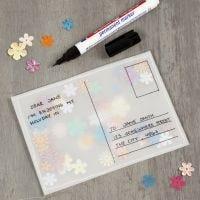 Postkarte aus Pergamentpapier, gefüllt mit Pailletten