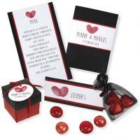 Einladung, Tischkarte, Menükarte und Tischdekoration in Schwarz und Rot