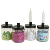 Hübsch dekorierte Glasbehälter mit Deckel als Kerzenhalter